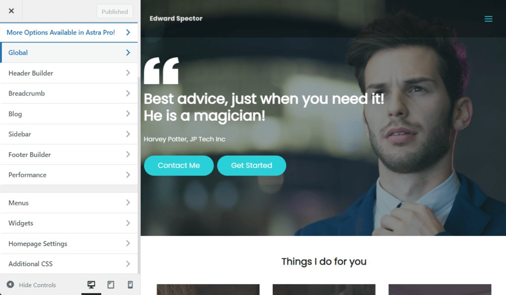 The WordPress theme customizer