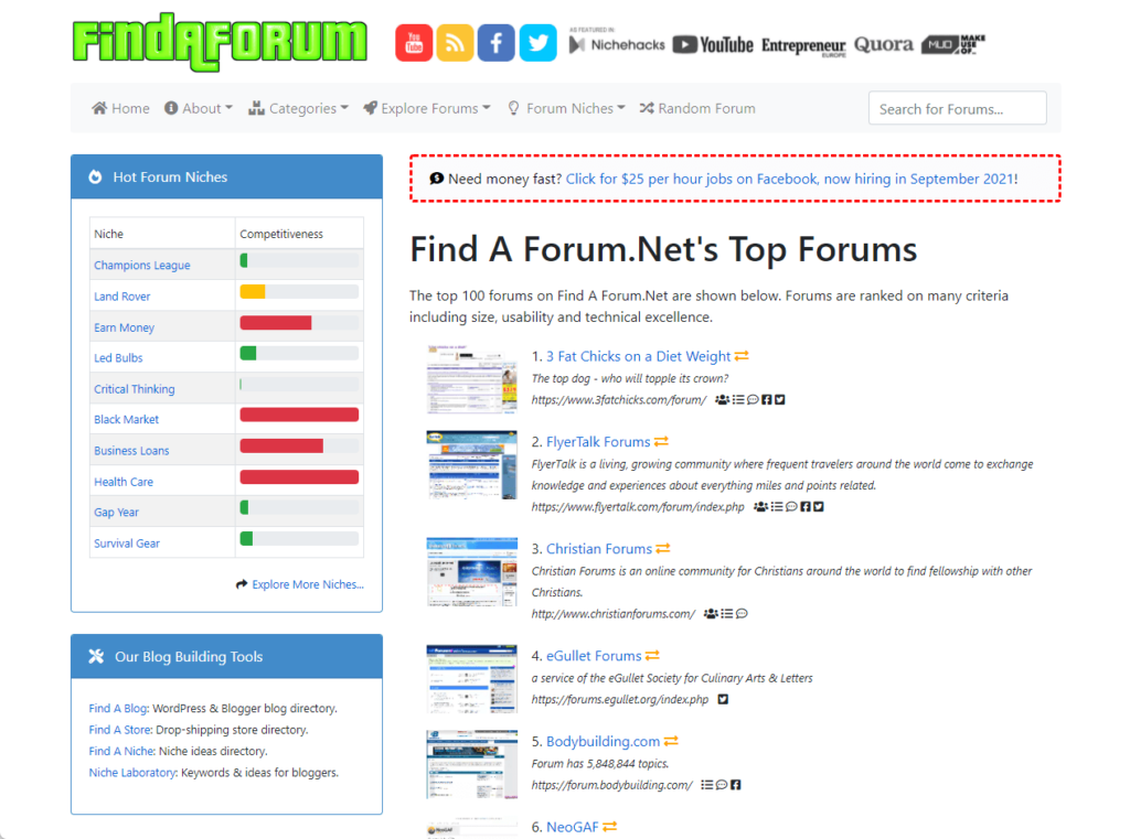 The top 100 forums from Find a Forum