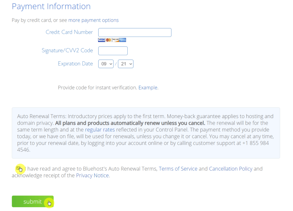 Provide your payment information and finish the signup