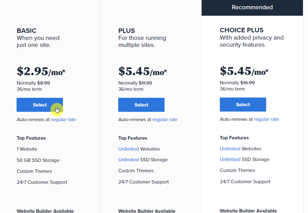 Select the hosting plan to get started