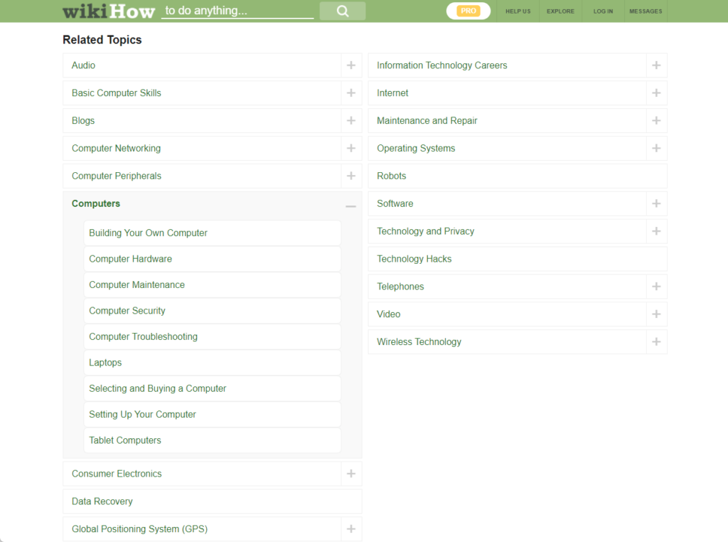 Showing related topics on Wikihow categories